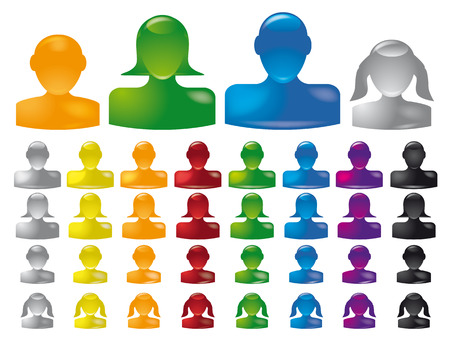 familiy: set of glossy familiy icons, man, woman, boy and girl head silhouettes, vector Illustration