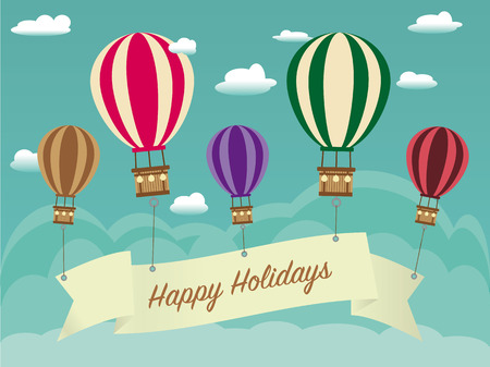 birthday card: retro Holiday Background with ribbon hanging on hot air balloon, with cloudscape