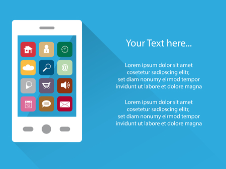 tele communication: tele communication background with white smartphone and app icons on touchscreen, flat design