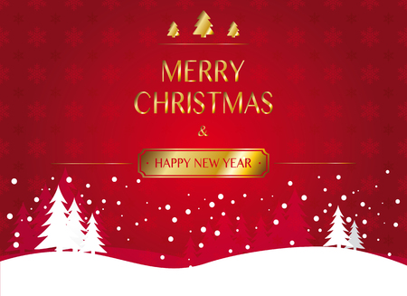 new year greetings: red snowflake christmas background with winter landscape and golden christmas and new year greetings Illustration