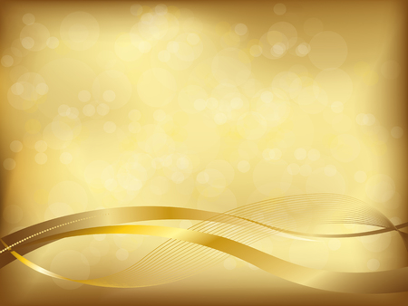 wedding backdrop: elegant golden background with blur and wavy shapes