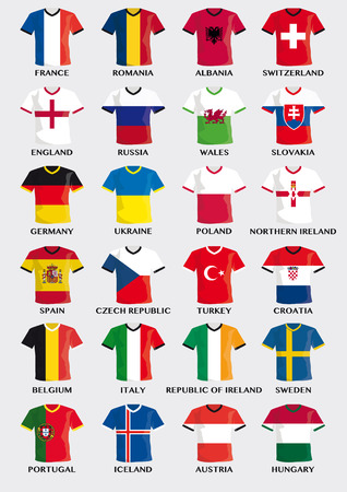 sport clothes: collection of team uniform buttons with national flag design of european football countries Illustration