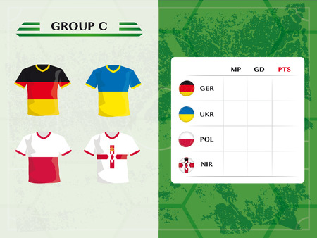 group c of european football teams, with jerseys and footballs in flag design Illustration