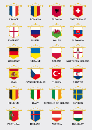european championship: collection of pennants with national flags of european football countries for championship Illustration