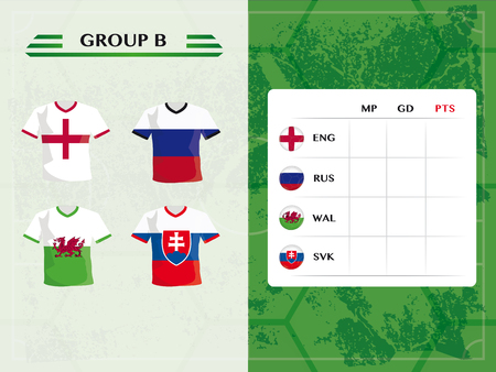 b ball: european soccer championship group b, with jersey and ball symbols of football teams