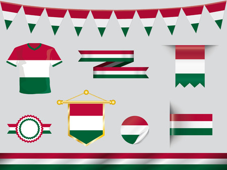 football jersey: hungary icon set with football jersey, badge, pennant, ribbons, sticker