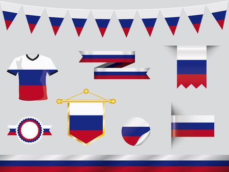 football jersey: russia icon set with football jersey, pennants, badges, buttons in flag design