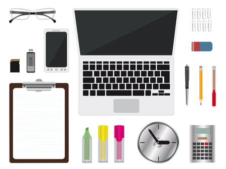 office supplies: realistic office supplies on white background, notebook, mobile phone, glasses, clipboard, watch, pen,