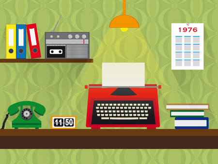seventies: seventies retro work place with red typewriter, green telepone, radio with tape deck in bureau with wooden table and vintage wallpaper