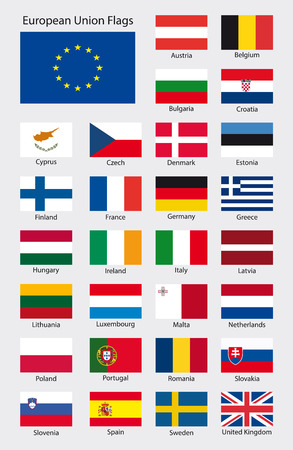 all european flags: collection of all european union country flags, ratio 3:2