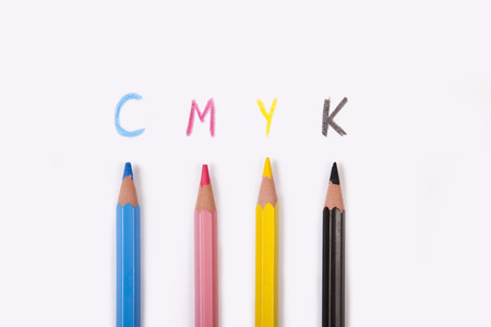 prepress: conceptual cmyk background, prepress colors from pencils