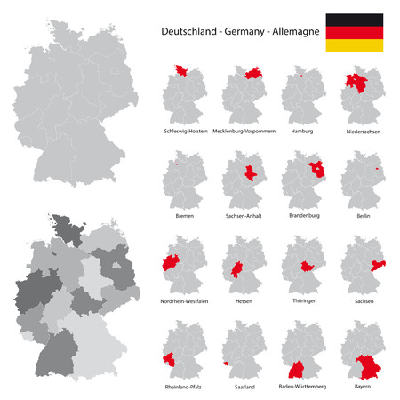 federal states: high detailed germany map collection, red marked federal states in seperated map silhouettes,