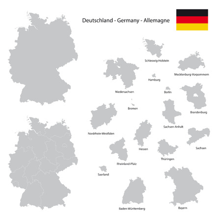 germany country map collection with seperated federal state silhouettes, high detailed,