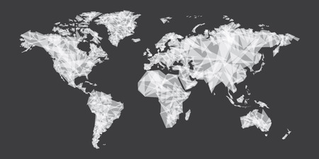 abstract world map vector, white polygon shape design, Illustration