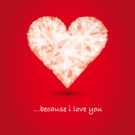 abstract polygon heart shape on red background