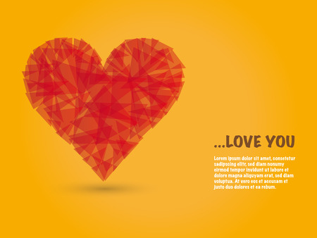 abstract polygon heart shape vector background for valentine greeting card Ilustração