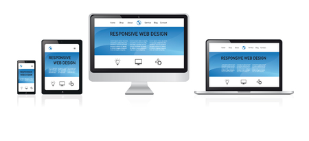 responsive web design illustration, media devices with modern website on white background