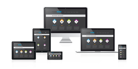 responsive web design concept vector illustration, modern black web site design on media devices 向量圖像