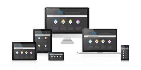 web site design: responsive web design concept vector illustration, modern black web site design on media devices Illustration