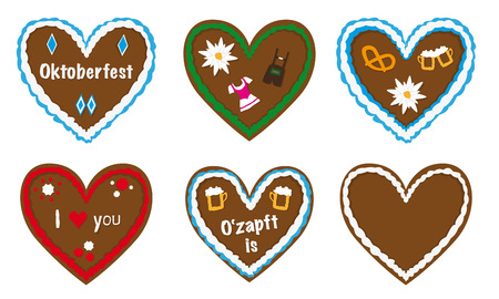 gingerbread heart vector collection, traditional bavarian octoberfest gift, different designs, lederhosen, beer, dirndl icons