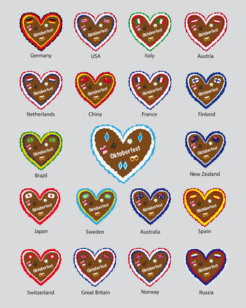 traditional bavarian octoberfest gingerbread hearts vector collection, flag design, most visiting countries