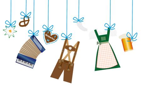 lederhosen: octoberfest background, lederhosen, dirndl, edelweiss, accordion, beer and gingerbread heart icons hanging on blue leash