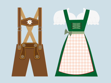 lederhosen and dirndl, traditional bavarian clothing vector illustration
