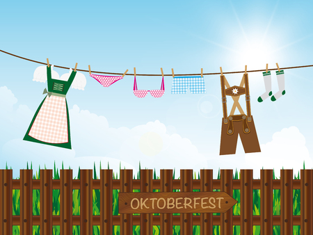oktoberfest background outdoors, lederhosen, dirndl, panties, lingerie, socks hanging on clothes line, destination board on wooden garden fence, Illustration