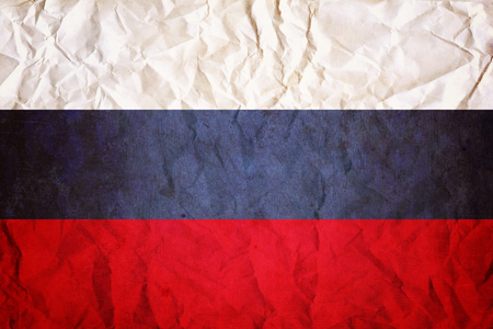 russia flag with wrinkled paper design background