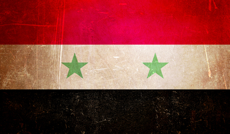 syrian flag, scratchy grunge texture background Archivio Fotografico