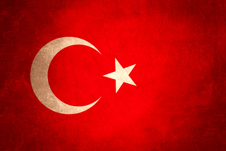 turkish flag with bad condition grunge design background