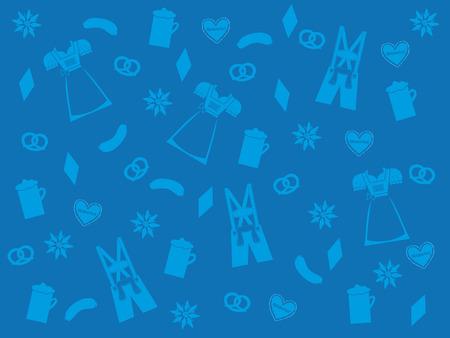 blue oktoberfest background with light blue traditional symbols, lederhosen, dirndl, beer, pretzel, edelweiss Illustration