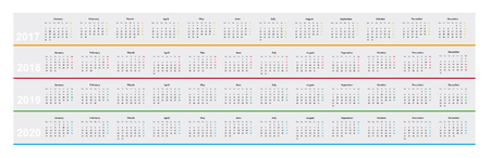 simple design basic calendar of year 2017, 20178, 2019, 2019, month parallel, years among other