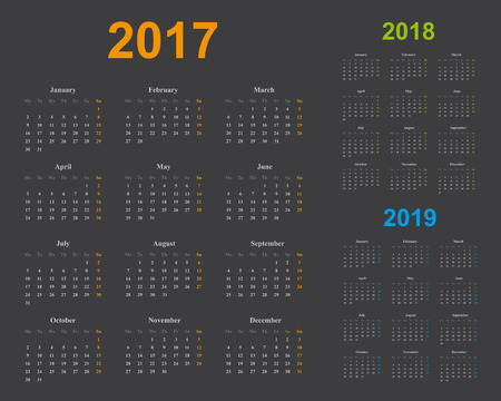 basic calendar of years 2017, 2018, 2019, sundays marked in light orange, green and blue, dark gray background