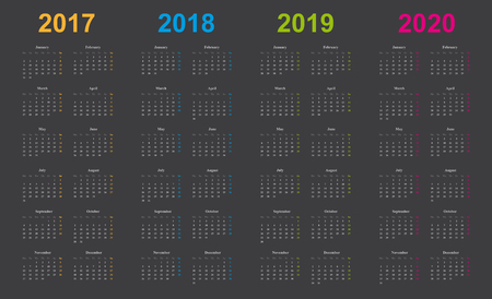 calendar 2017, 2018, 2019, 2020, simple design, gray background, years marked orange, blue, green, pink,
