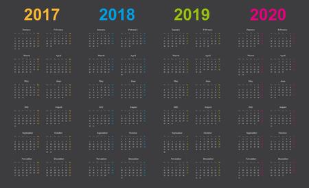 calendar 2017, 2018, 2019, 2020, simple design, gray background, years marked orange, blue, green, pink,