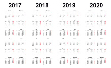 calendar 2017, 2018, 2019, 2020, simple design, black letters on white background, sundays marked red Illustration