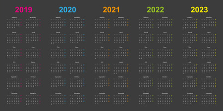 modern calendar design, years 2019, 2020, 2021, 2022, 2023, side by side, grey background, years marked orange, blue, green, pink, yellow