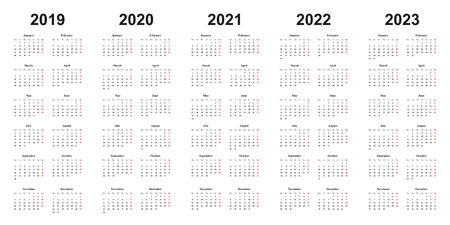 calendar 2019, 2020, 2021, 2022, 2023, black letters on white background, sundays marked red, years side by side