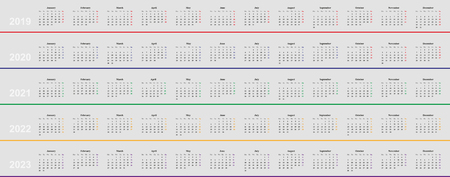 european Calendar 2019, 2020, 2021, 2022, 2023, simple design, grey background, sunday is last day,
