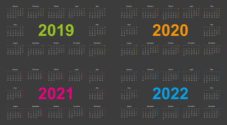 Modern Calendar Design, years 2019, 2020, 2021, 2022, dark grey backround, sundays marked with different colors