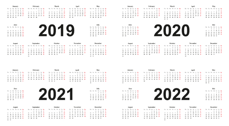 Calendar 2019, 2020, 2021, 2022, white background, simple design layout, sundays marked red