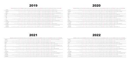 Calendar 2019, 2020, 2021,2022, white background, week starts with sunday, sunday marked red Illustration