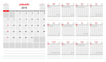 Planner 2019, simple Design, monthly calendar, sunday first weekday, sunday marked red Ilustração