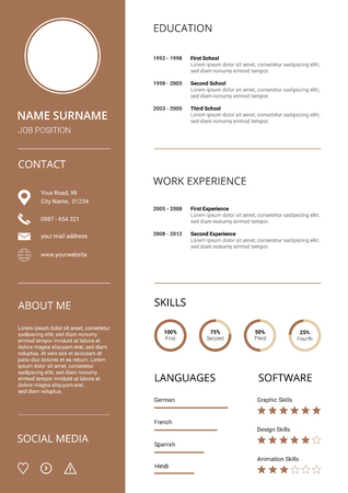 Clean and modern Resume CV Template with Icons, white background and brown elements,
