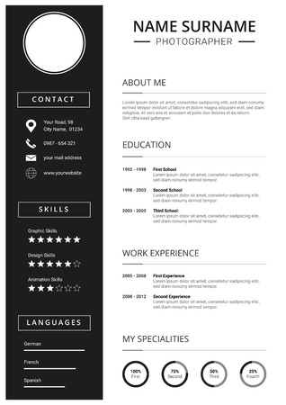 Clean curriculum vitae, Resume Template with minimal design, black icons,