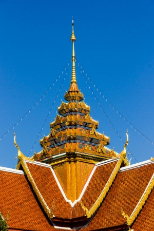 gold teakwood: roof temple, Thailand