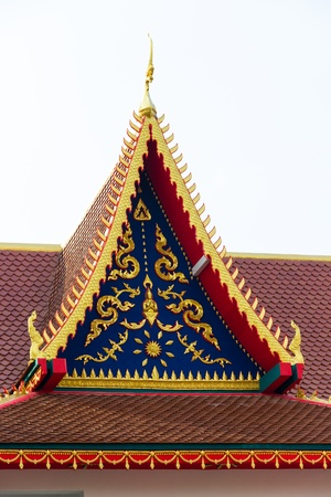 gold teakwood: roof temple at Lamphun