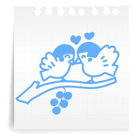 Hand draw bird love cartoon_on paper Note Vector