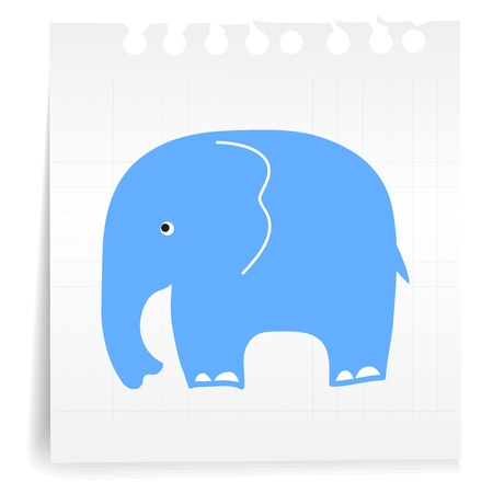 Hand draw blue Elephant cartoon_on paper Note